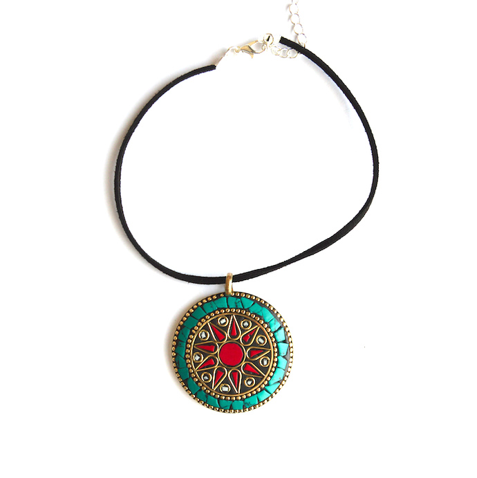 Turquoise Red Circle Choker - We Wear Gems