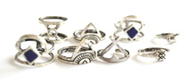 Vintage Silver Aztec Ring Set (8 pieces) - We Wear Gems