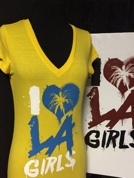 Womens I Love LA Girls V Neck Tees