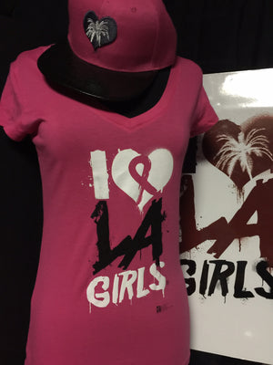 Load image into Gallery viewer, Womens I Love LA Girls V Neck Tees