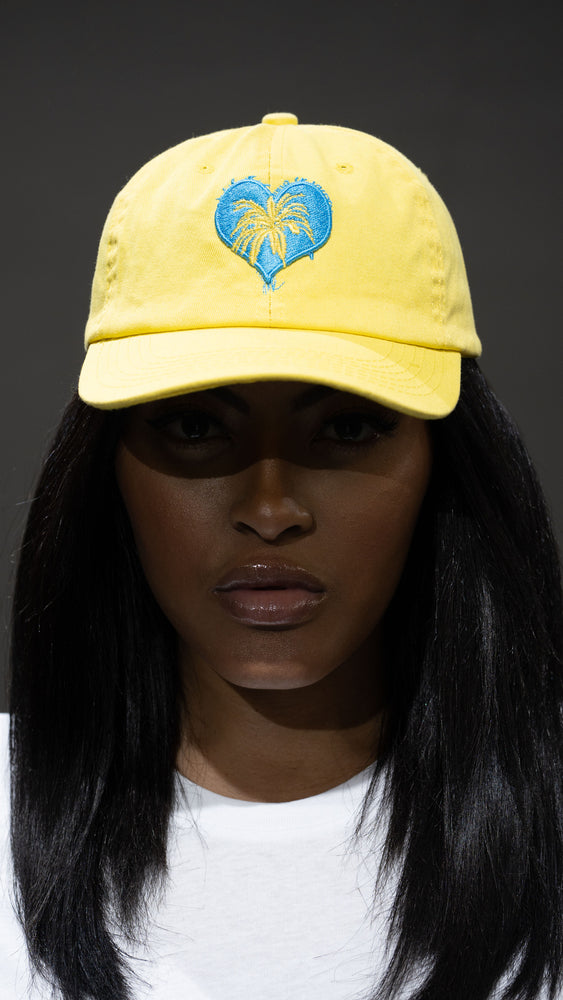 Load image into Gallery viewer, Cali Love LS Yellow/ Powder Blue Dad Hat