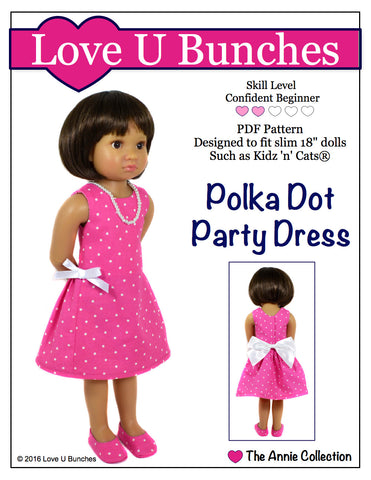 "Polka Dot Party Dress (for slim 18"" dolls such as Kidz 'n' Cats®)"