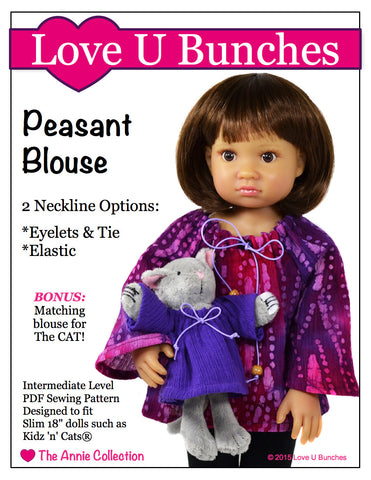 "Peasant Blouse (for slim 18"" dolls such as Kidz 'n' Cats®)"