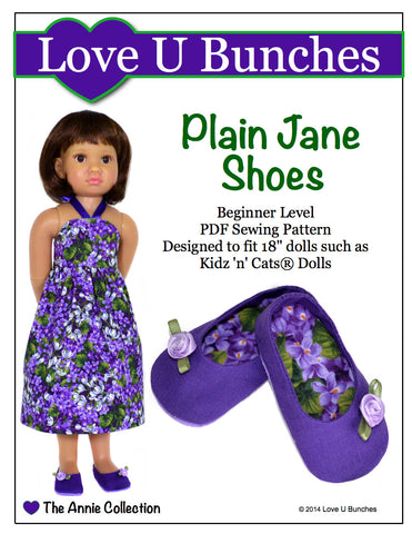 "Plain Jane Shoes (for 18"" dolls such as Kidz 'n' Cats®)"