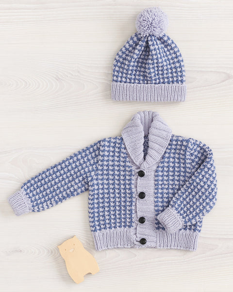 Knitting Pattern Houndstooth Cardi & Beanie