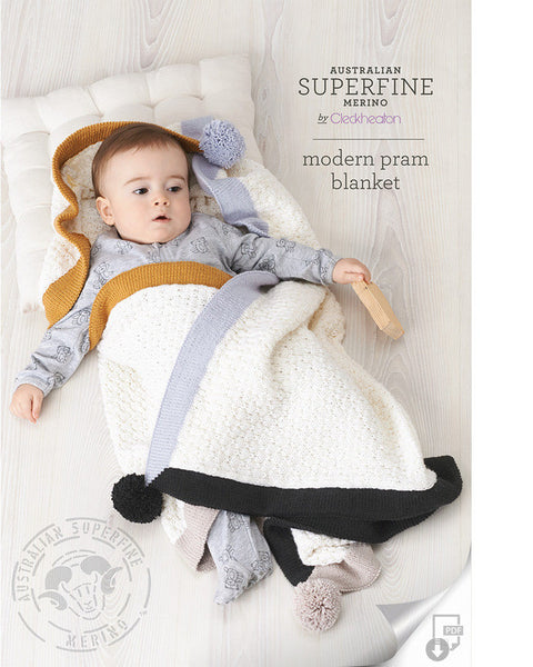 Knitting Pattern Modern Pram Blanket