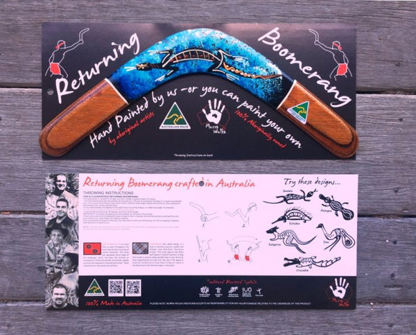 Murra Wolka Carded 35cm Hand Painted Returning Boomerang Comtemporary Art
