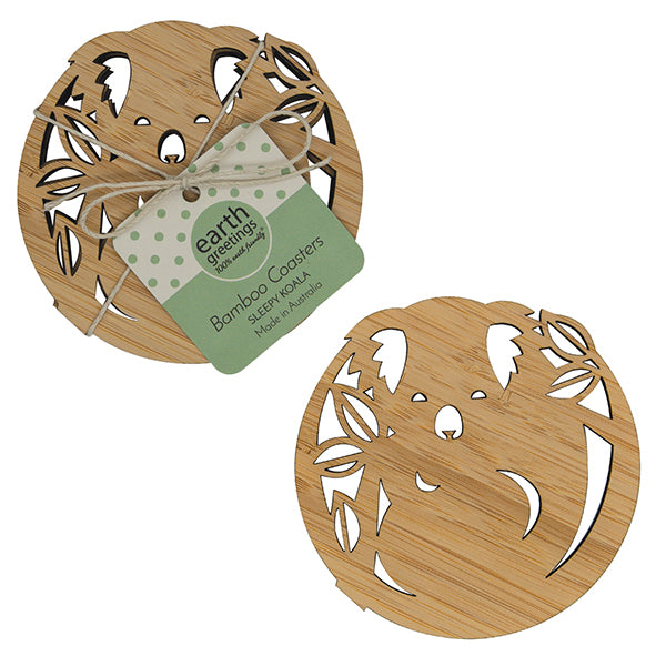 Bamboo Coaster Set of 4- Sleepy Koala