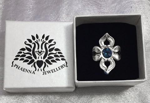 Ornatering_sterling silver with London Blue Topaz