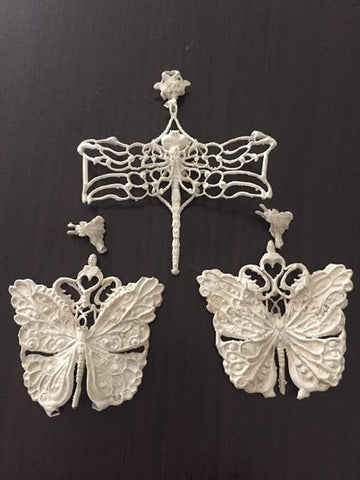 Casted silver dragonfly and butterfly pendants