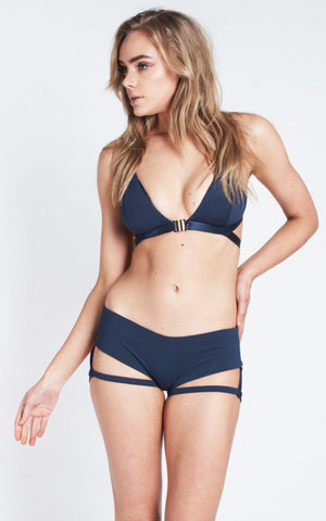 Lure You Low Waisted Garter Shorts - Navy (8)