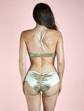 PREORDER - Lure You Low Waisted Garter Shorts Gold
