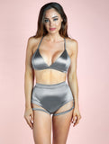 PREORDER - Lure You High Waisted Garter Shorts Silver