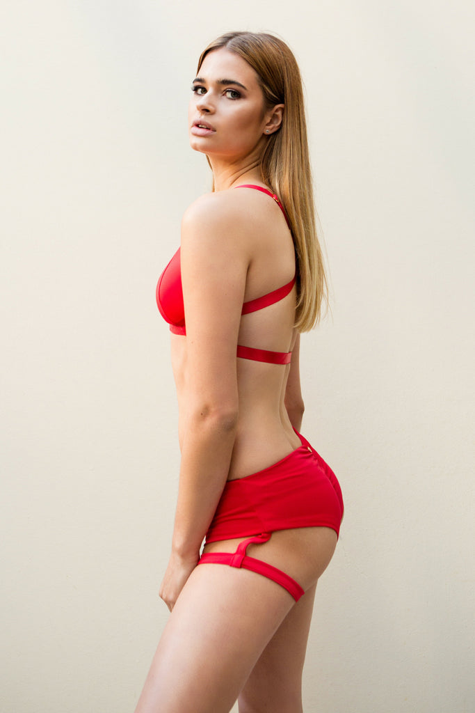 PREORDER - Lure You Low Waisted Garter Shorts Red