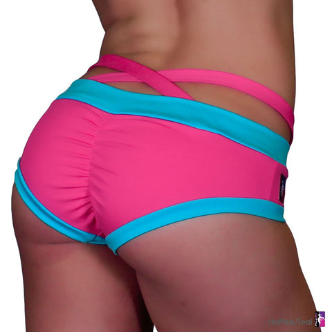 Criss Cross Brazil Shorts - Hot Pink/Teal (XS)