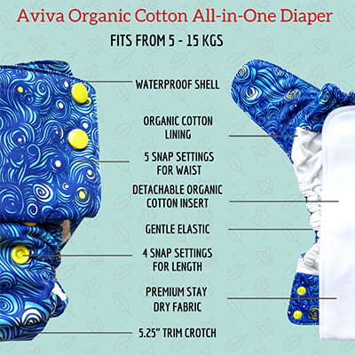 Aviva diaper best day time cloth diaper organic cotton trim gentle