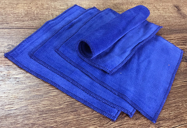 Blue 100% Cotton Velour Cloth Wipes (Pack of 4)
