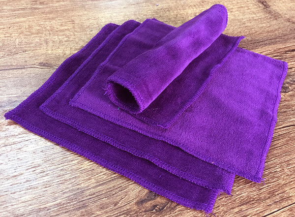 Purple 100% Cotton Velour Cloth Wipes (Pack of 4)