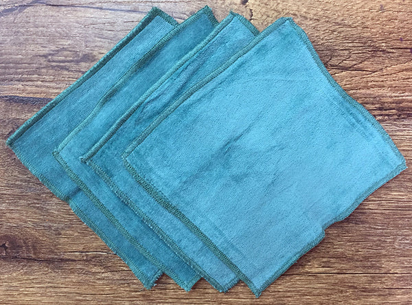 Teal 100% Cotton Velour Cloth Wipes (Pack of 4) - Bumpadum Cloth Diaper