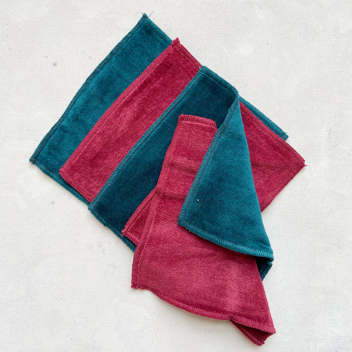 100% Cotton Velour Cloth Wipes (Pack of 4 - Assorted colours)
