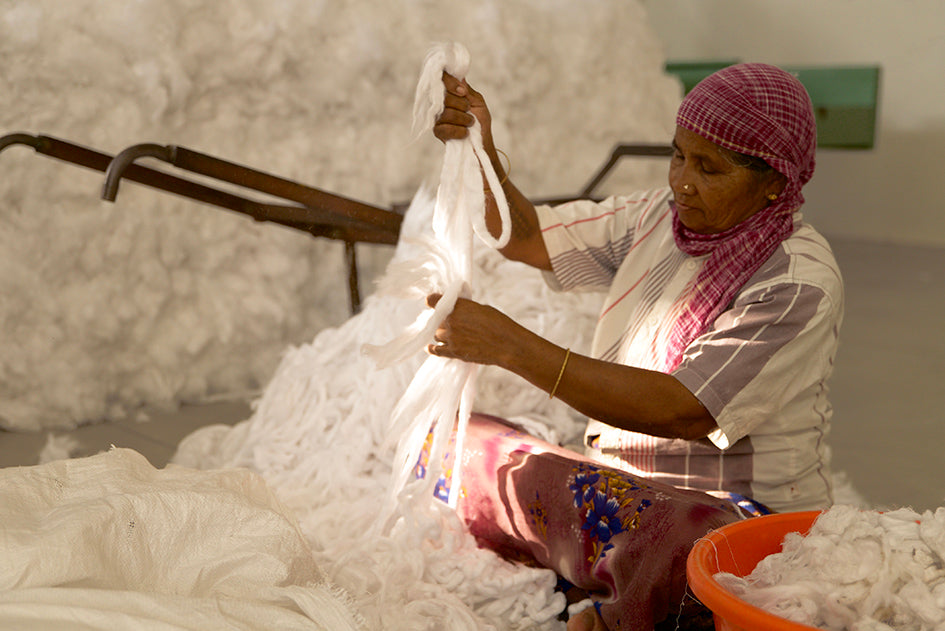 Pure Waste garment worker, blending process