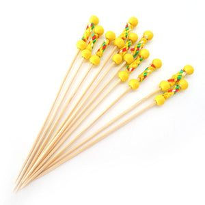 "PuTwo Cocktail Picks Handmade Toothpicks 4.7"" 100ct Yellow Beads with Rope"