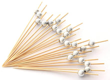 Charger l'image dans la galerie, PuTwo Cocktail Toothpicks 100 Counts Cocktail Picks Handmade Natural Bamboo Cocktail Sticks Eco-Friendly Appetizer Skewers for Cocktail Appetizers Fruits Dessert - Sliver Pearls