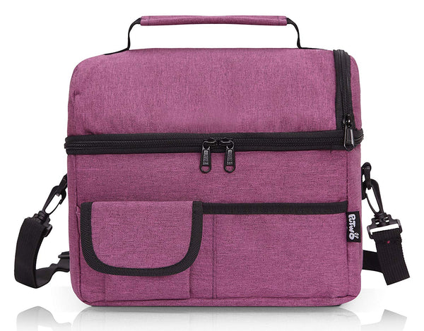 PuTwo Lunch Bag 8L Insulated Lunch Bag Lunch Box Lunch Bags Women Lunch Bag Men Cooler Bag YKK Zip Adjustable Shoulder Strap Lunch Tote Kids Lunch Box Lunch Pail - Dark Purple