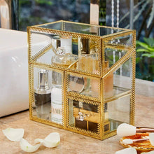 Load image into Gallery viewer, PuTwo Makeup Organiser Glass Vintage Cosmetic Organiser Handmade Brass Trim Vanity Storage Transparent Cotton Pads Organiser Dustproof Makeup Brush Holder with FREE White Pearls Decoration for Dresser Vanity Countertop - Gold