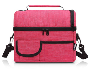PuTwo Lunch Bag 8L Insulated Lunch Bag Lunch Box Lunch Bags Women Lunch Bag Men Cooler Bag YKK Zip Adjustable Shoulder Strap Lunch Tote Kids Lunch Box Lunch Pail - Rosy