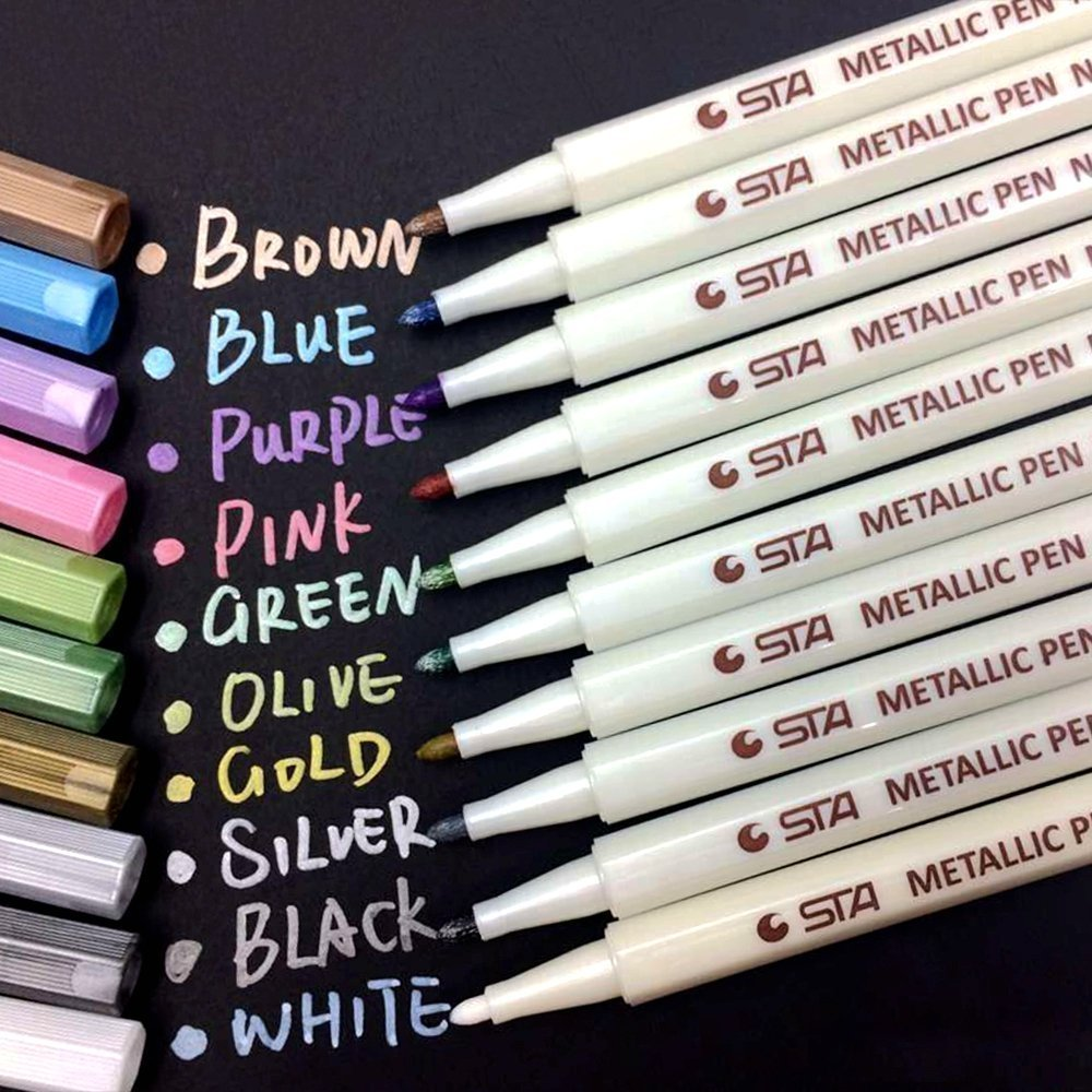 PuTwo Metallic Marker Pens, 10 Colours Marker Pens, Scrapbook Pens for Black Paper, Scrapbook Accessories, Metallic Paint Pens, Pens for Photo Album