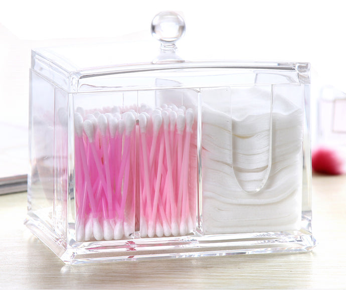 PuTwo Cotton Pads Holder Acrylic Makeup Organiser Cotton Swab Holder - PuTwo  - 1