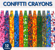 Load image into Gallery viewer, PuTwo Crayons 12pcs Washable Crayons with Square Design Safe & Non-Toxic Funny Confetti Crayon Toys for Toddlers Kids Children Adult Drawing Crayon for Crafts Arts Painting Coloring - Multicolor