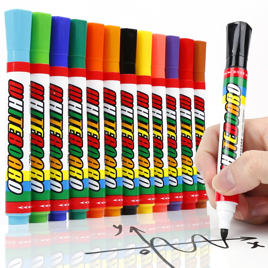 LuluPlus Dry Erase Markers, 12 pcs Board Markers with Low-Odor Ink, Erasable Window Markers for Glass, Mirrors, Whiteboards and Non-Porous Surfaces