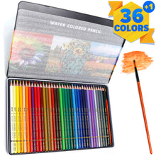 Load image into Gallery viewer, PuTwo Colored Pencils, 36 pcs Numbered Watercolor Pencils with Brush Pen and Metal Box, Color Pencils, Drawing Pencils, Coloring Pencils, Colored Pencils for Adult Coloring, Colored Pencil for Kids