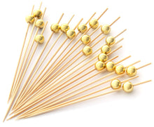 Load image into Gallery viewer, PuTwo Cocktail Sticks 100 Counts Cocktail Toothpicks Handmade Natural Bamboo Cocktail Pick Eco-Friendly Appetizers Sticks for Cocktails Appetizers Fruits Desserts Party Supplies - Golden Pearls