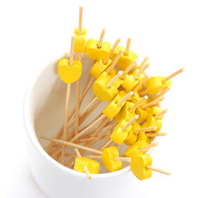 Load image into Gallery viewer, PuTwo Cocktail Toothpicks 100 Counts Cocktail Picks Handmade Natural Bamboo Cocktail Sticks Eco-Friendly Appetizer Skewers for Cocktail Appetizers Fruits Dessert - Yellow Hearts