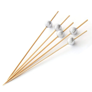 PuTwo Cocktail Toothpicks 100 Counts Cocktail Picks Handmade Natural Bamboo Cocktail Sticks Eco-Friendly Appetizer Skewers for Cocktail Appetizers Fruits Dessert - Sliver Pearls
