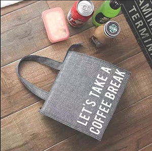 PuTwo Thermal Insulated Box Tote Cooler Zipper Bag Bento Lunch Pouch-Tweed Grey