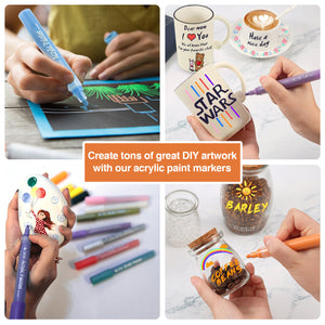 PuTwo Acrylic Markers, 8 Pcs Non-Toxic Acrylic Paint, Acrylic Pens with 1 Stain Pen, Odorless Pen Acrylic Paint Acrylic Paint Marker Acrylic Markers Pens Paint Markers for Kids, Rock, Glass, Canvas