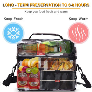 PuTwo Insulated Lunch Bag 8L Leakproof Lunch Bag for Adults Lunch Bag for Kids Women Lunch Boxes Picnic Bags Lunch Cooler Bag Meal Prep Bag Bento Box Lunch Tote for Camping Travel - Camfoulage Grey