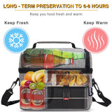PuTwo Lunch Bag 8L Insulated Lunch Bag Lunch Box Lunch Bags for Women Lunch Bag for Men Cooler Bag with YKK Zip and Adjustable Shoulder Strap Lunch Tote for Kids Lunch Box Bento Lunch Pail - Black