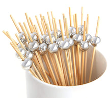 Laden Sie das Bild in den Galerie-Viewer, PuTwo Cocktail Toothpicks 100 Counts Cocktail Picks Handmade Natural Bamboo Cocktail Sticks Eco-Friendly Appetizer Skewers for Cocktail Appetizers Fruits Dessert - Sliver Pearls