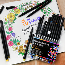 Load image into Gallery viewer, PuTwo Colored Pens,Fine Tip Markers, Planner Accessories, Journaling Supplies, Fineliner Pens for Journaling, Drawing, Coloring, Scrapbooking (24 Colors)