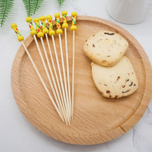 "Load image into Gallery viewer, PuTwo Cocktail Picks Handmade Toothpicks 4.7"" 100ct Yellow Beads with Rope"