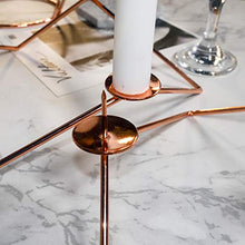 Load image into Gallery viewer, PuTwo Candlestick Holders 2 pcs 3 Arm Candle Holder Metal Candelabra Irregular Geometric Design Decoration for Home Decor Copper Taper Candle Holder Ideal Gift for Wedding Ceremony Party - Rose Gold