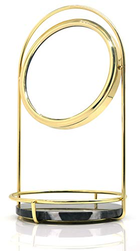PuTwo Makeup Mirror Double Sided 1x & 3X Magnifying Mirror Round 360° Rotation Cosmetic Mirror with Black Marble Tray Beauty Mirror Vintage Vanity Mirror for Dresser Vanity Table Desk - Gold & Black