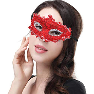 PuTwo Halloween Costume Lace with Rhinestone Venetian Women Masquerade Mask, Red