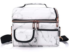 Load image into Gallery viewer, PuTwo Lunch Bag, 8L Insulated Lunch Bags Double Compartment Lunch Tote Leakproof Lunch Cooler Bag with Adjustable Shoulder Strap Freezable Lunch Bag Meal Prep Bag for Women - Marble Lunch Bag