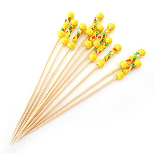 "PuTwo 4.7"" 100ct Yellow Beads with Rope Handmade Toothpicks Cocktail Picks, 1.2 x 1.2 x 1.2 inches"